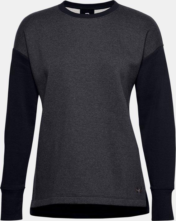 Women's UA Rival Fleece Embroidered Crew, Black, pdpMainDesktop image number 3