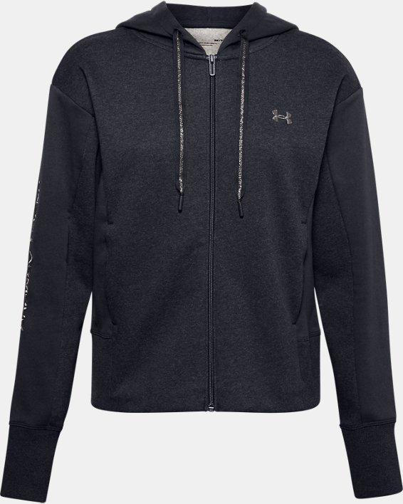 Women's UA Rival Fleece Embroidered Full Zip Hoodie, Black, pdpMainDesktop image number 5