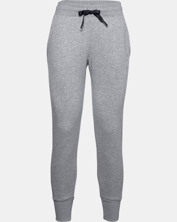 Women's UA Rival Fleece EMB Pants, Gray, pdpMainDesktop image number 4