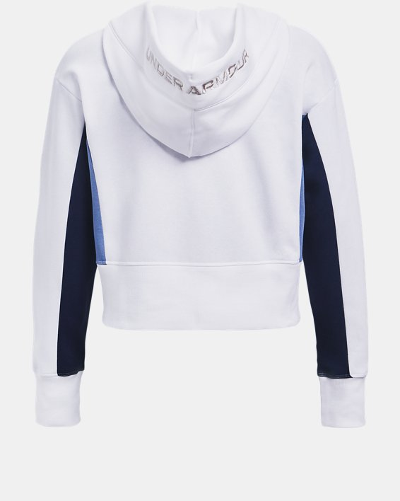 Women's UA Rival Fleece Embroidered Hoodie, White, pdpMainDesktop image number 4