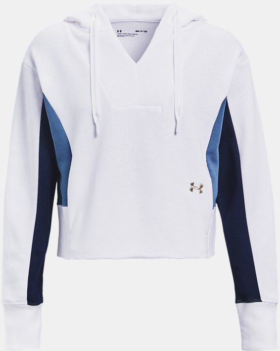 Women's UA Rival Fleece Embroidered Hoodie, White, pdpMainDesktop image number 3