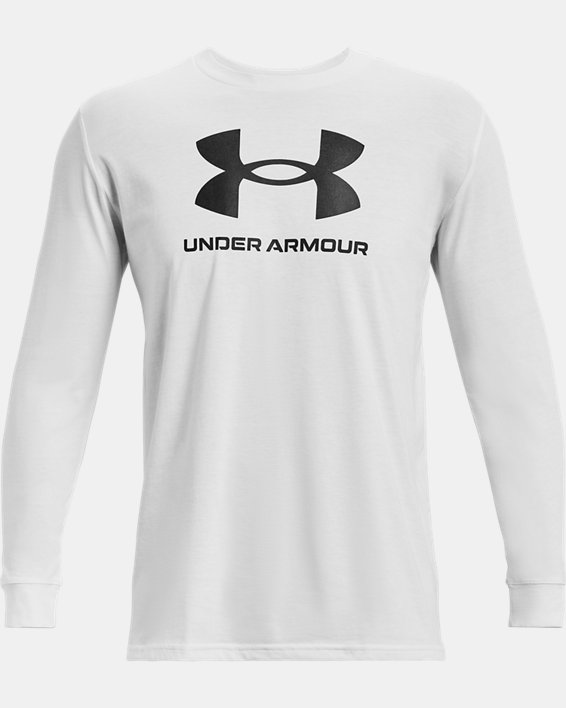 Camiseta de manga larga UA Sportstyle Logo para hombre, White, pdpMainDesktop image number 3