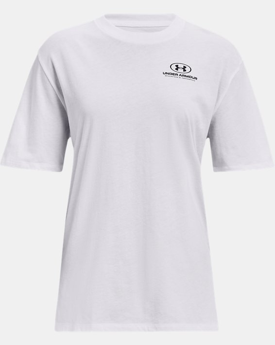 Women's UA Graphic Oversized Short Sleeve, White, pdpMainDesktop image number 4