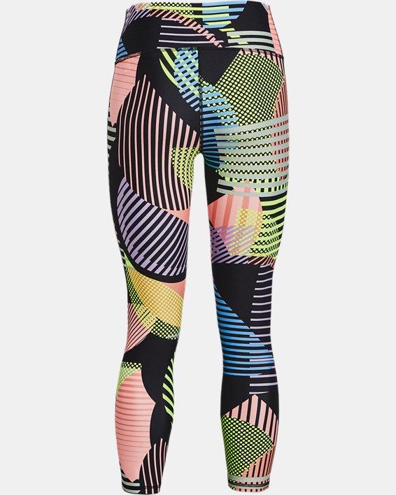 Women's HeatGear® Armour No-Slip Waistband Geo Print Ankle Leggings, Black, pdpMainDesktop image number 4