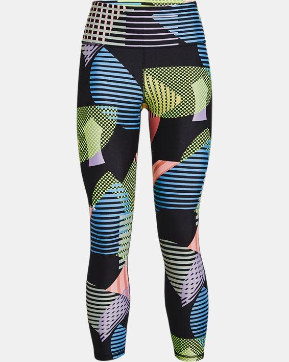 Women's HeatGear® Armour No-Slip Waistband Geo Print Ankle Leggings, Black, pdpMainDesktop image number 3