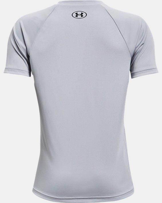Boys' UA Tech™ Hybrid Print Fill Short Sleeve, Gray, pdpMainDesktop image number 1