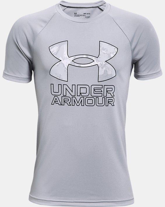 Boys' UA Tech™ Hybrid Print Fill Short Sleeve, Gray, pdpMainDesktop image number 0
