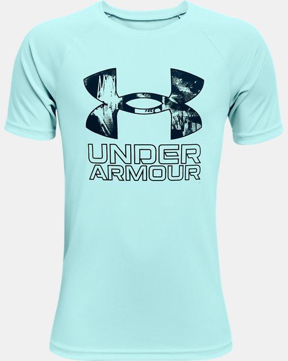 Camiseta de manga corta UA Tech™ Hybrid Print Fill para niño, Blue, pdpMainDesktop image number 0