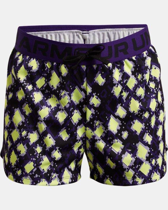 Girls' UA Play Up Printed Shorts, Purple, pdpMainDesktop image number 0