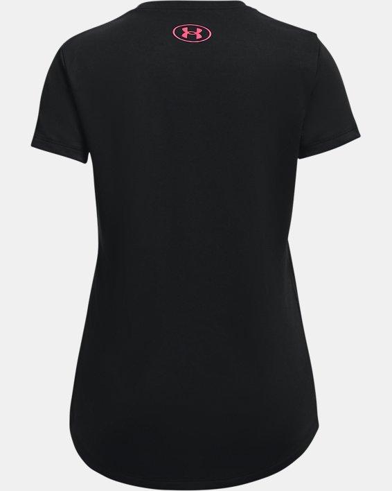 Girls' UA Tech™ Sportstyle Big Logo Short Sleeve, Black, pdpMainDesktop image number 1