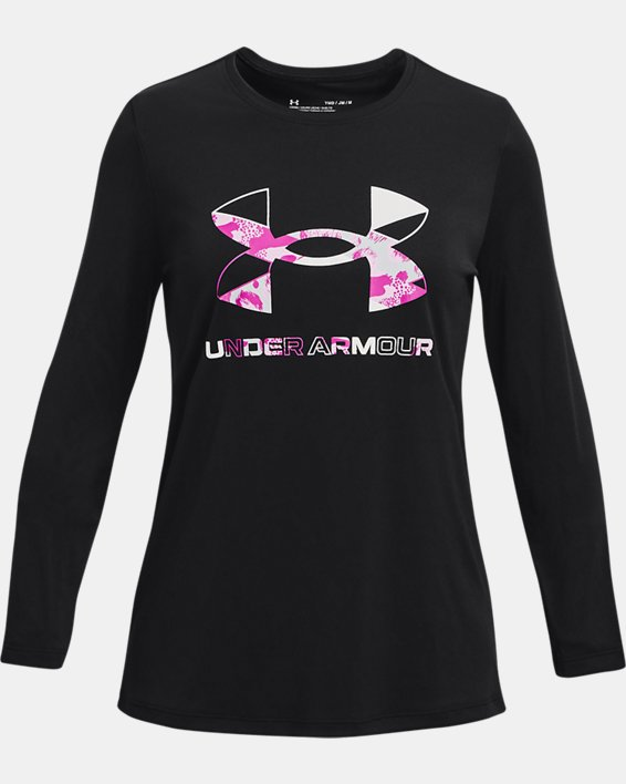 Girls' UA Tech™ Graphic Print Fill Big Logo Long Sleeve, Black, pdpMainDesktop image number 0