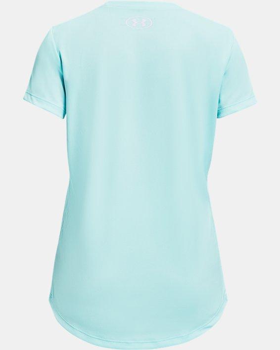 Girls' UA Tech™ Graphic Big Logo Short Sleeve, Blue, pdpMainDesktop image number 1