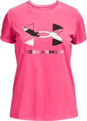 Girls Kids Youth Under Armour T-Shirt NEW Short Sleeve White Pink Win Top SZ 5