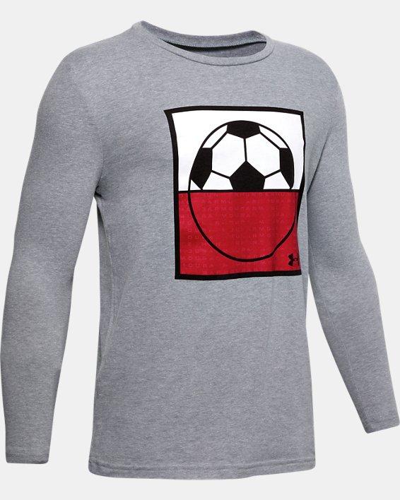 Boys' UA Soccer Field Ball Long Sleeve, Gray, pdpMainDesktop image number 0
