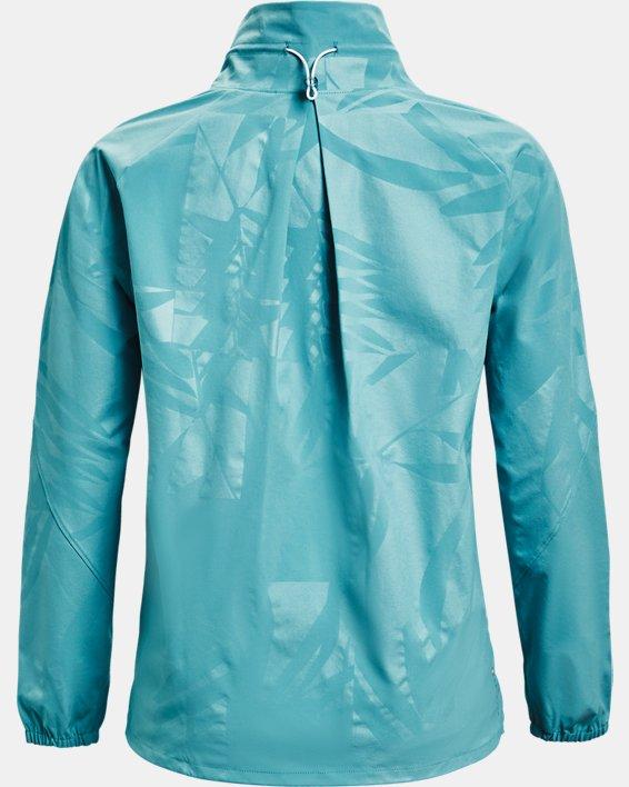 Women's UA RUSH™ Woven Emboss Jacket, Blue, pdpMainDesktop image number 4