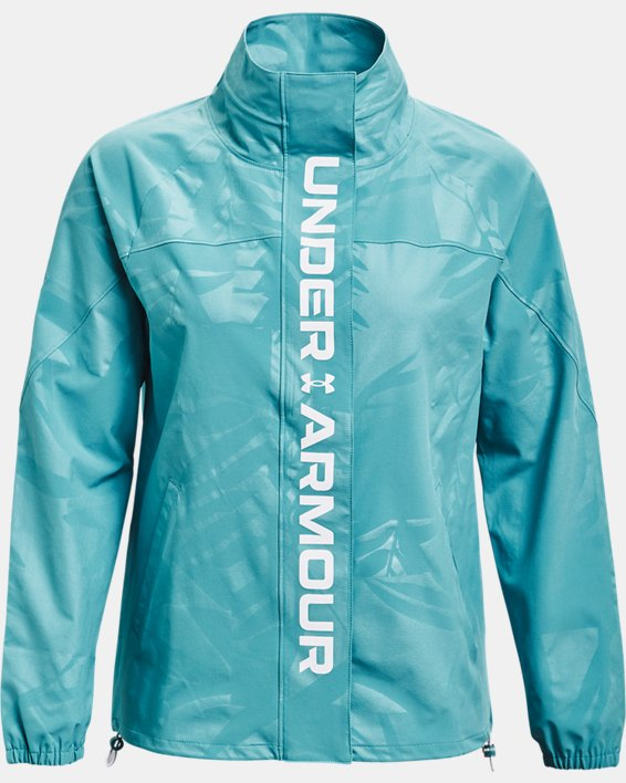Women's UA RUSH™ Woven Emboss Jacket, Blue, pdpMainDesktop image number 3