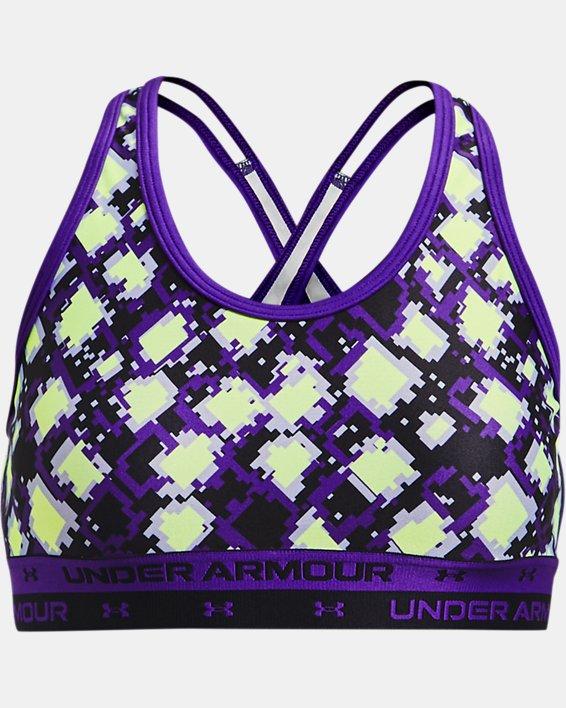 Girls' UA Crossback Printed Sports Bra, Purple, pdpMainDesktop image number 0
