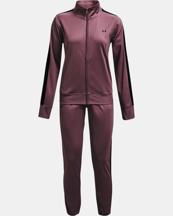 Women's UA Tricot Tracksuit, Purple, pdpMainDesktop image number 3