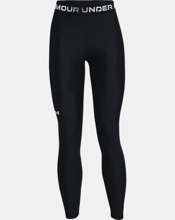 Women's HeatGear® Armour Wordmark Waistband Full-Length Leggings, Black, pdpMainDesktop image number 4