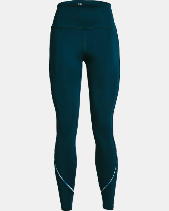 Women's UA RUSH™ No-Slip Waistband Scallop Full-Length Leggings, Blue, pdpMainDesktop image number 4