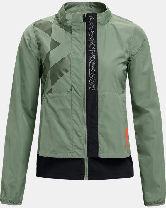 Women's UA Run Anywhere Laser Jacket, Green, pdpMainDesktop image number 4