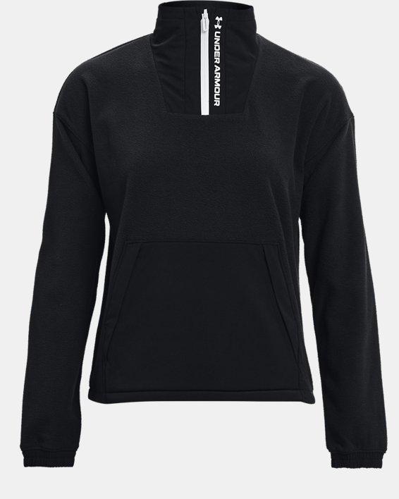 Women's UA RUSH™ Fleece ½ Zip Hoodie, Black, pdpMainDesktop image number 5
