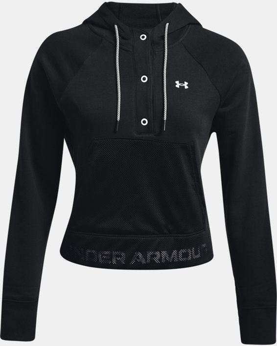 Women's UA Rival Fleece Mesh Hoodie, Black, pdpMainDesktop image number 4