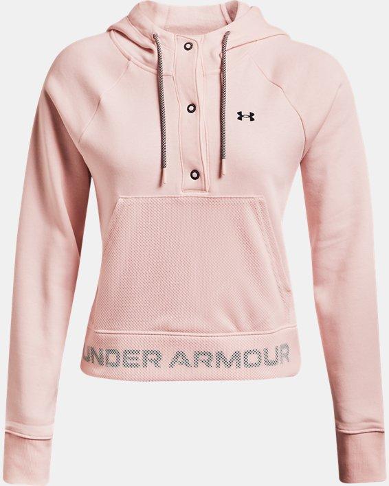 Women's UA Rival Fleece Mesh Hoodie, Pink, pdpMainDesktop image number 4