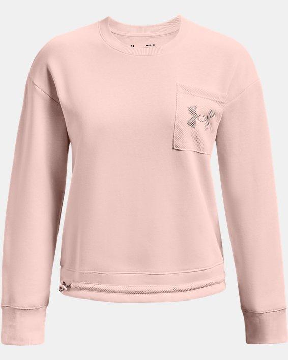Women's UA Rival Fleece Mesh Crew, Pink, pdpMainDesktop image number 4