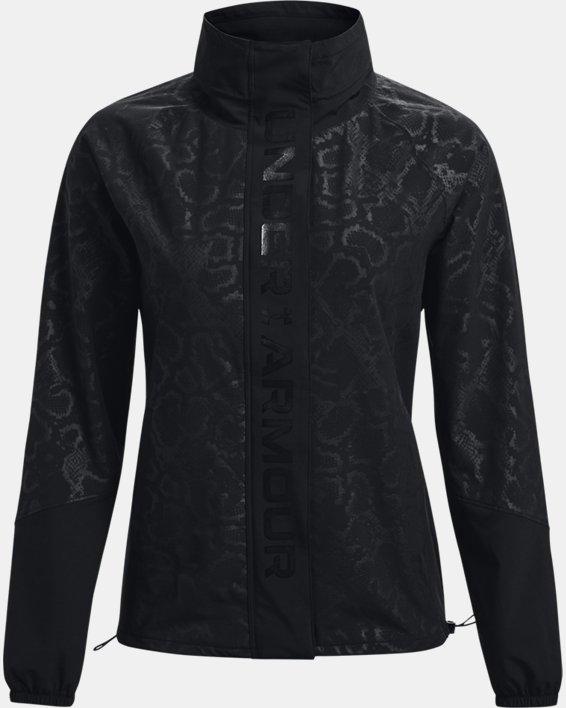 Women's UA RUSH™ Woven Print Full-Zip, Black, pdpMainDesktop image number 7
