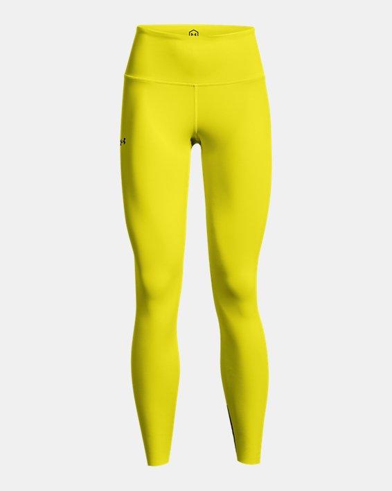 Women's UA RUSH™ HeatGear® No-Slip Waistband Custom Length Leggings, Yellow, pdpMainDesktop image number 6