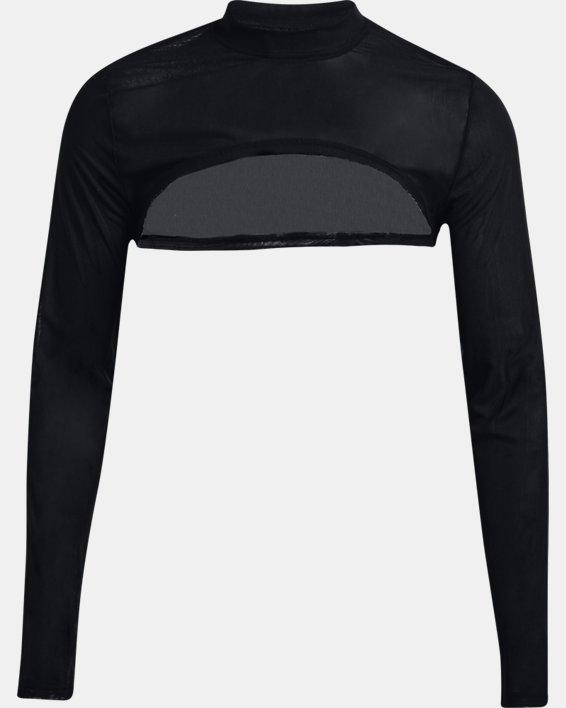 Women's UA Mesh Crop Mock Long Sleeve, Black, pdpMainDesktop image number 4
