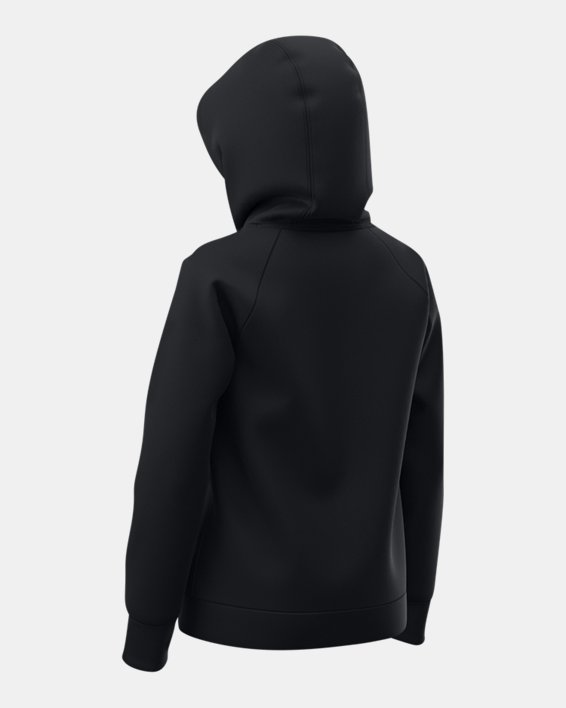 Sudadera con capucha de tejido Fleece UA Rival Logo para niña, Black, pdpMainDesktop image number 3