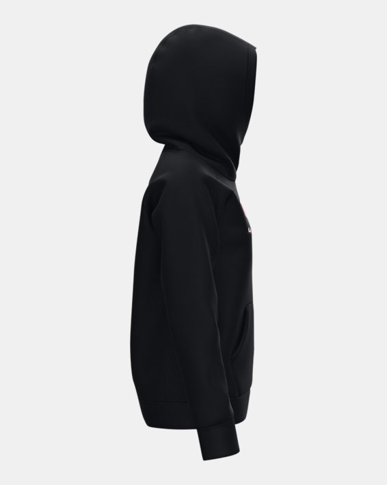 Sudadera con capucha de tejido Fleece UA Rival Logo para niña, Black, pdpMainDesktop image number 4