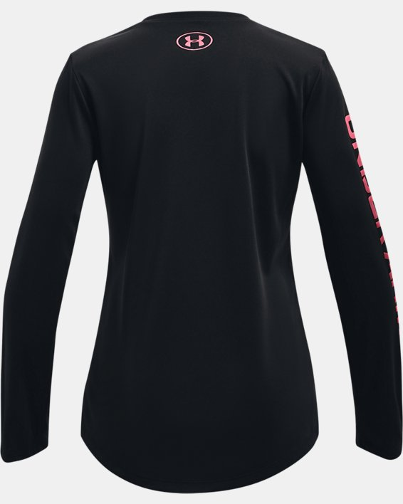 Girls' UA Tech™ Big Logo Long Sleeve, Black, pdpMainDesktop image number 1