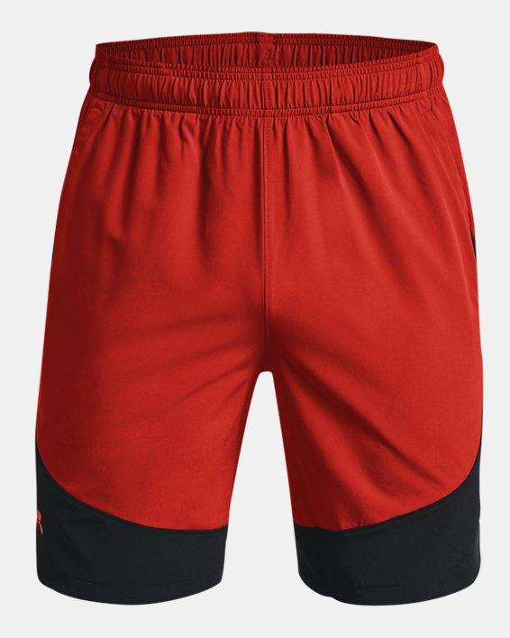 Men's UA HIIT Woven Colorblock Shorts, Orange, pdpMainDesktop image number 7
