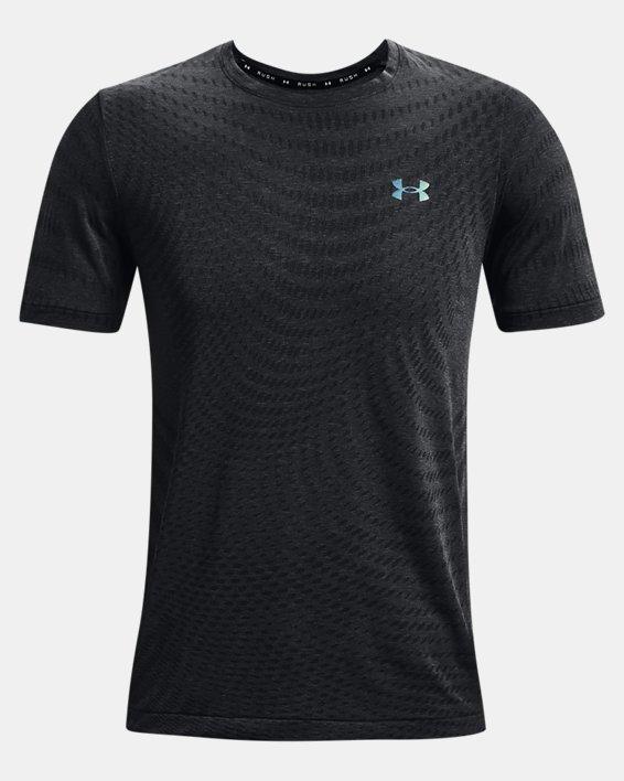 Men's UA RUSH™ HeatGear® Seamless Illusion Short Sleeve, Black, pdpMainDesktop image number 4