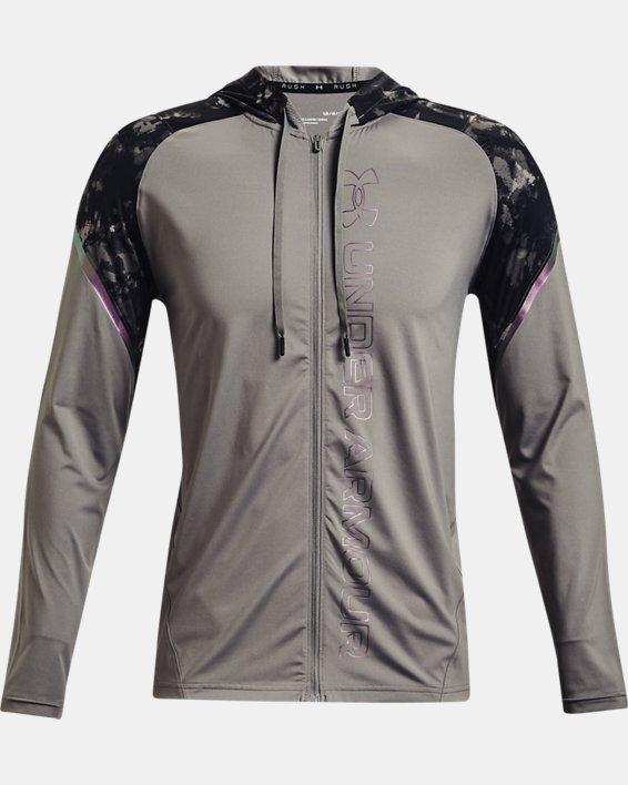 Men's UA RUSH™ HeatGear® Printed Full-Zip Hoodie, Gray, pdpMainDesktop image number 5