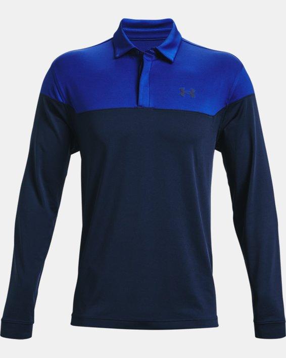 Men's UA Playoff Long Sleeve Playoff Polo, Blue, pdpMainDesktop image number 4