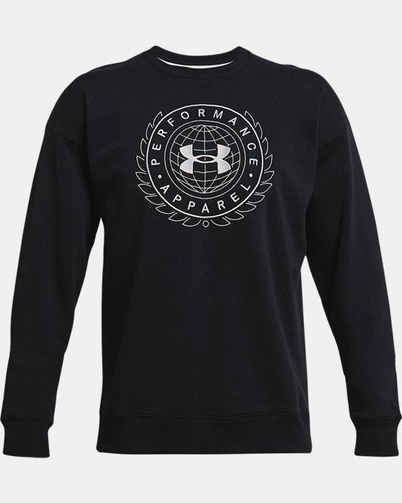 Men's UA Rival Fleece Alma Mater Crew, Black, pdpMainDesktop image number 4