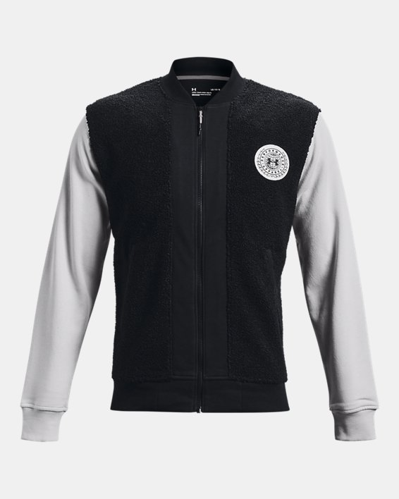 Men's UA Rival Fleece Alma Mater Bomber Jacket, Black, pdpMainDesktop image number 4