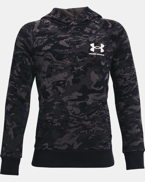 Boys' UA Rival Fleece ABC Camo Hoodie, Black, pdpMainDesktop image number 0