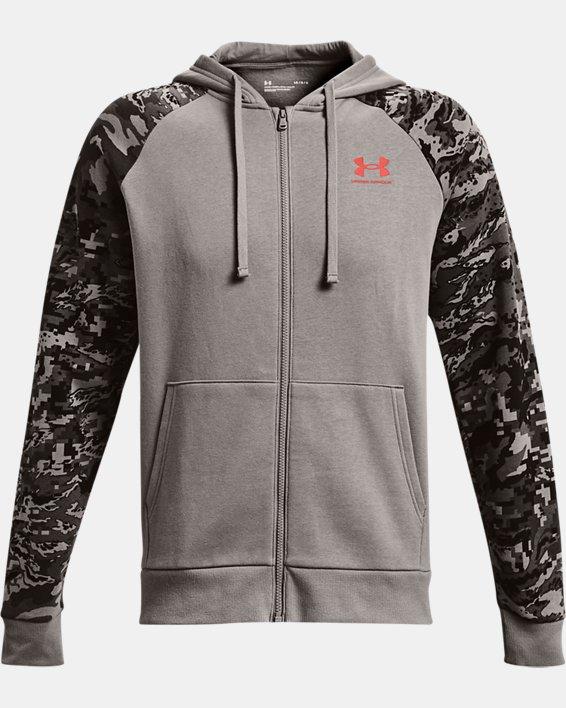 Men's UA Rival Fleece Camo Script Full-Zip, Gray, pdpMainDesktop image number 3