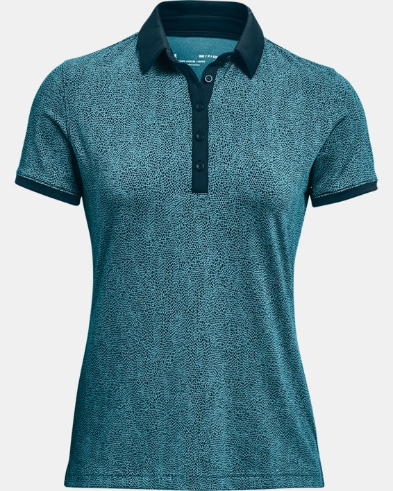 Women's UA Zinger Printed Short Sleeve Polo, Blue, pdpMainDesktop image number 4