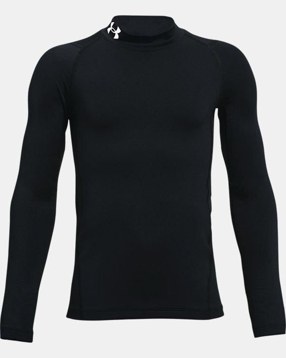 Boys' ColdGear® Armour Mock Long Sleeve, Black, pdpMainDesktop image number 0