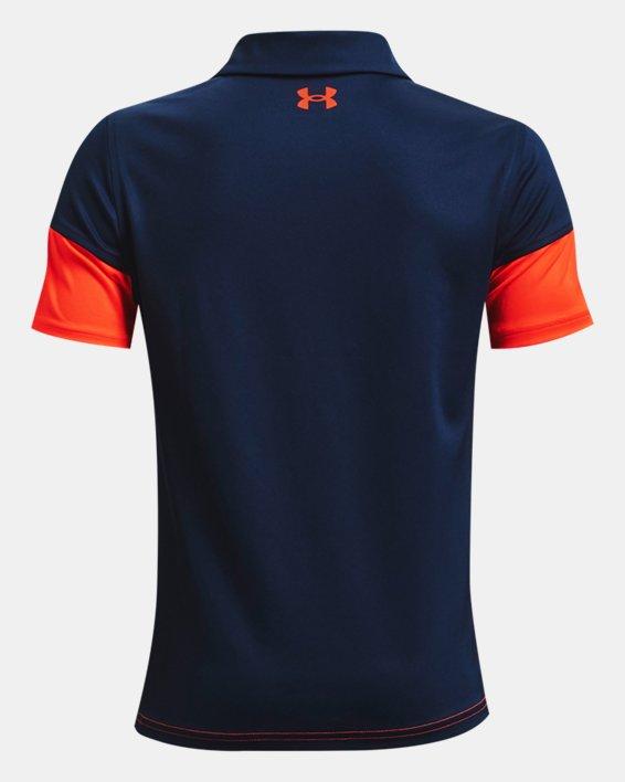 Boys' UA Performance Blocked Polo, Navy, pdpMainDesktop image number 1