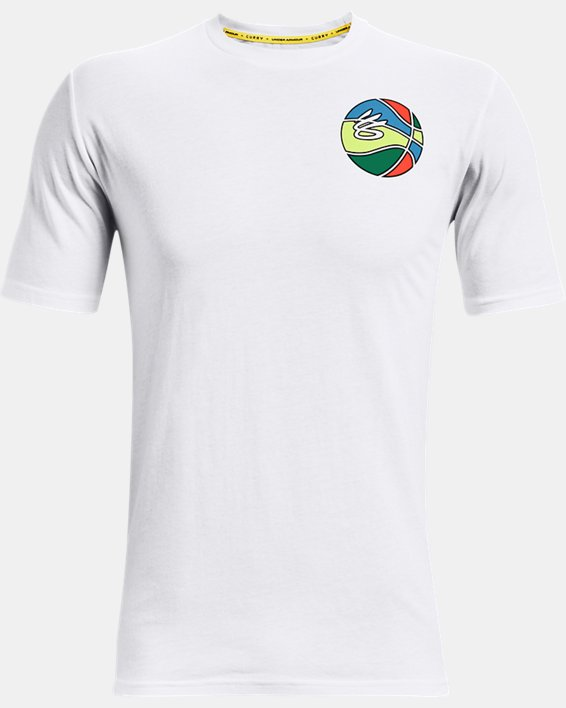 Men's Curry Basketball Graphic T-Shirt, White, pdpMainDesktop image number 0