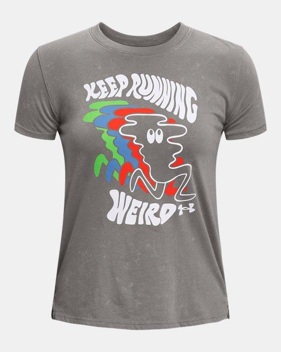 Women's UA Keep Run Weird Graphic Short Sleeve, Gray, pdpMainDesktop image number 4