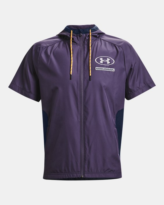 Men's UA Evolution Woven Full-Zip Short Sleeve Hoodie, Purple, pdpMainDesktop image number 4