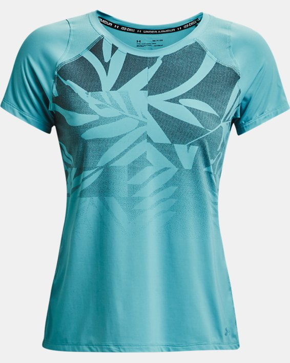 Women's UA Iso-Chill Run Short Sleeve, Blue, pdpMainDesktop image number 3